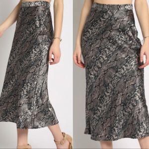 boutique Skirts - BERKLEY PYTHON SATIN SKIRT